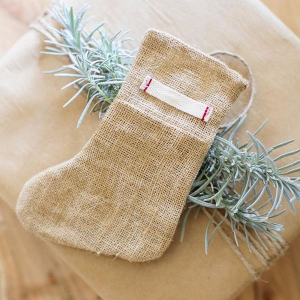 Burlap Mini Stocking - Holiday Decor
