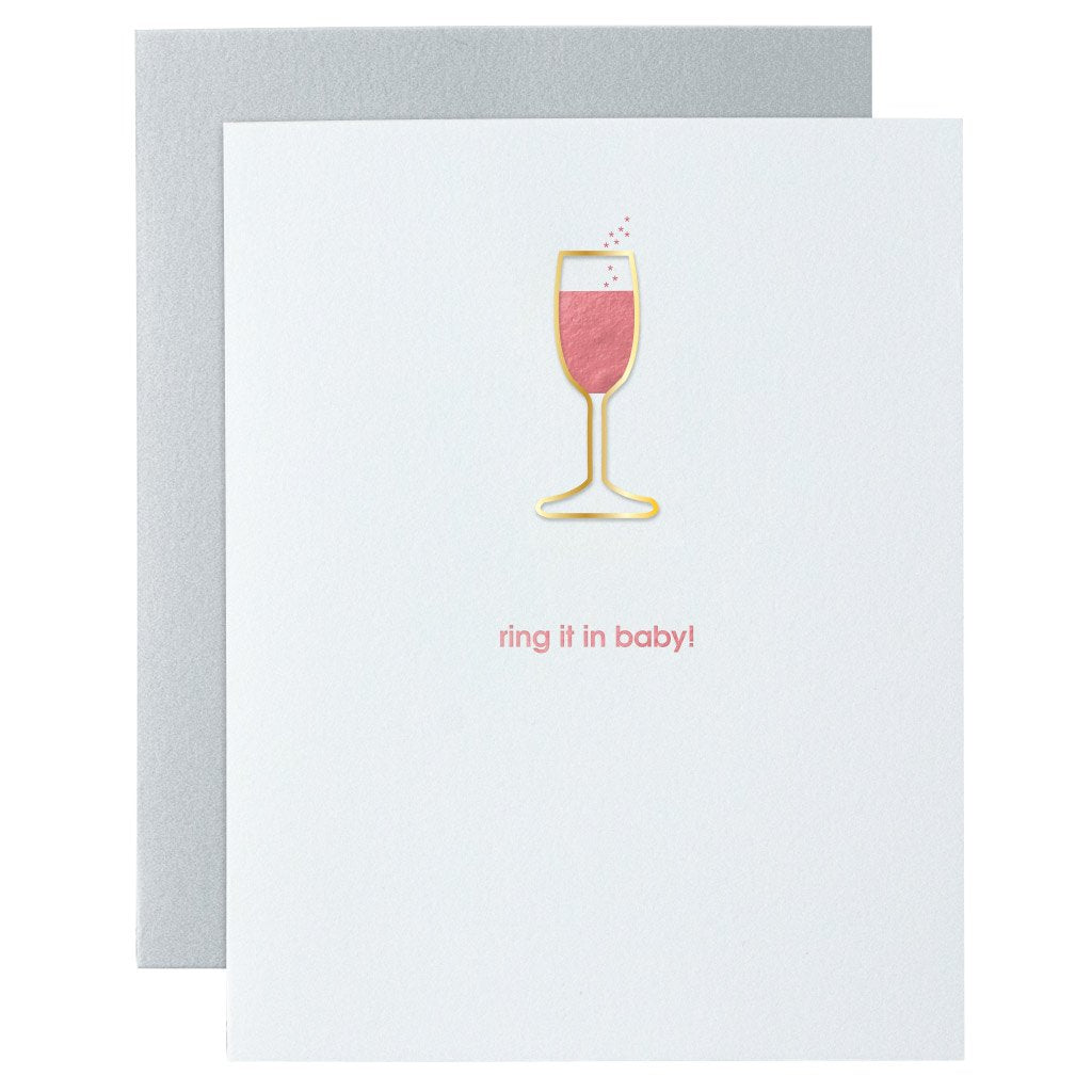 Ring It In Baby Paper Clip Letterpress Card By Chez Gagne Chez Gagne - Cork Collection