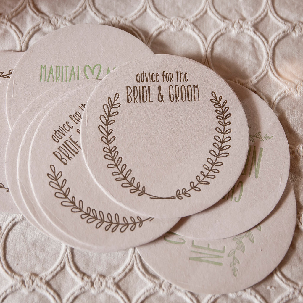 Letterpressed Newlywed Coasters