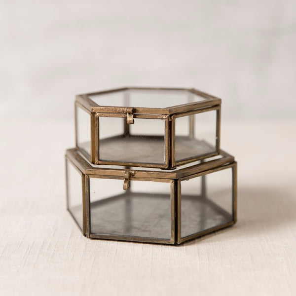 Embossed Brass Hexagon Boxes Roost - Cork Collection