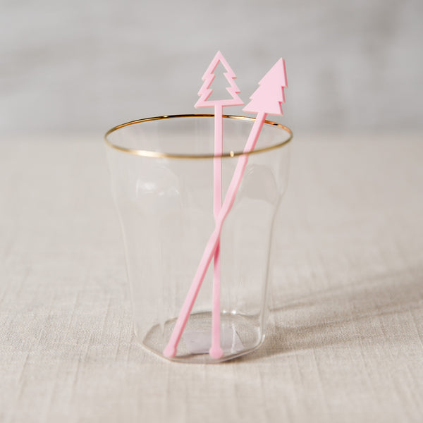 Pink Christmas Tree Stir Sticks