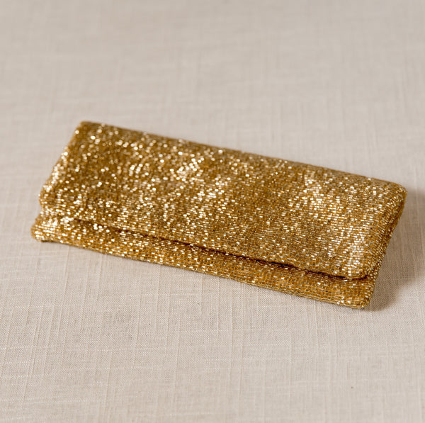 Gold Fold-Over Beaded Clutch