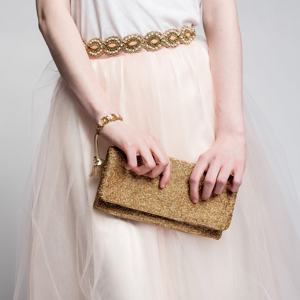 Matte Gold Fold-Over Beaded Clutch Moyna - Cork Collection