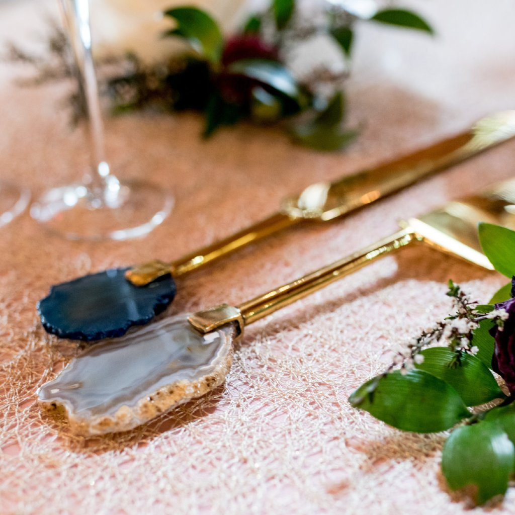 Brass Agate Stone Handle Cake Set