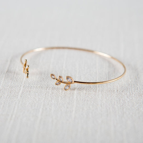 CZ Encrusted Laurel Leaf Delicate Bangle - Antique Gold Theia - Cork Collection