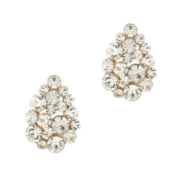 Clear Teardrop Button Earrings Theia - Cork Collection