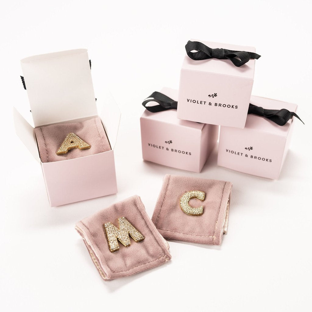 Boxed Crystal Letter Scatter Pin
