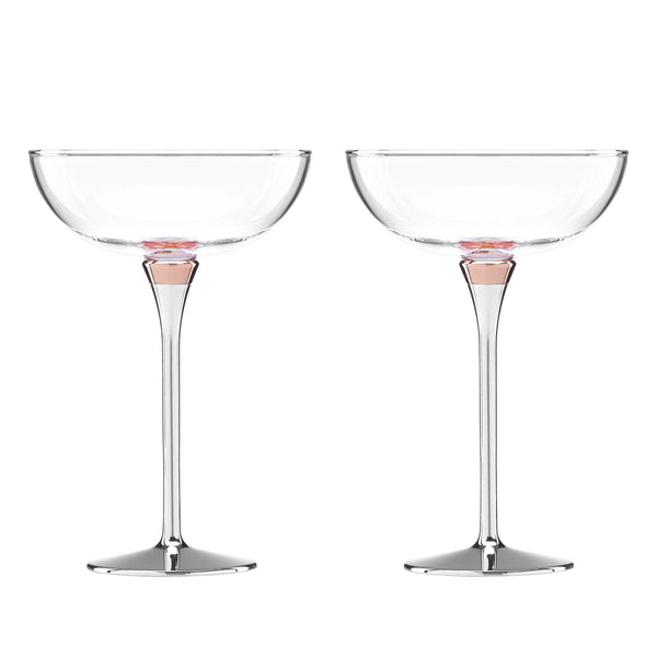 Rosy Glow Champagne Saucers