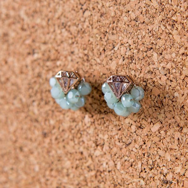 Crown Jewel Stud Earrings Theia - Cork Collection