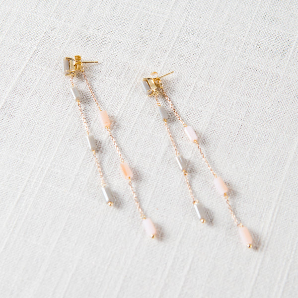 Rain Drop Front/Back Earrings Theia - Cork Collection