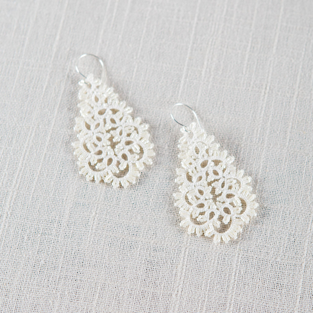 Ivory Lace Earrings Lorina Balteanu - Cork Collection