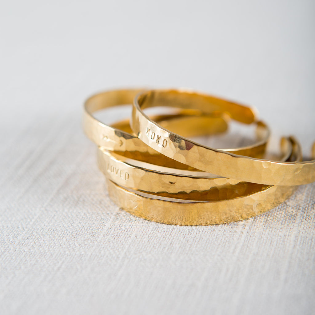 Hammered Brass Cuff Becoming - Cork Collection