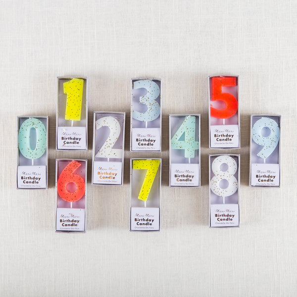 Glittered Number Candles