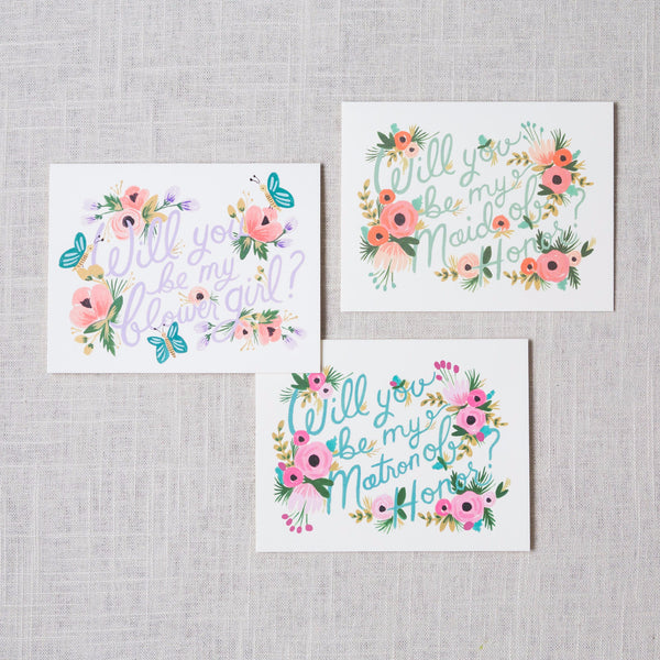 Floral Hand Lettered Will You Be My... Card