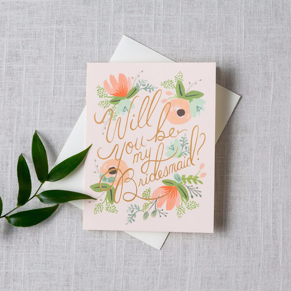 Blushing Will You Be My... Card Rifle Paper Co. - Cork Collection