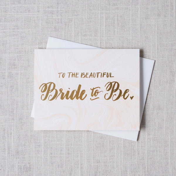 Beautiful Bride to Be Marble Card The Social Type - Cork Collection