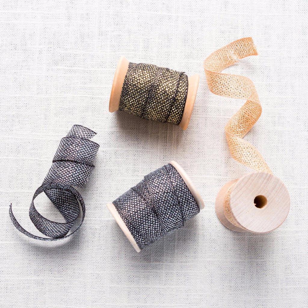 Metallic Loose Weave Cotton Ribbon Carta - Cork Collection