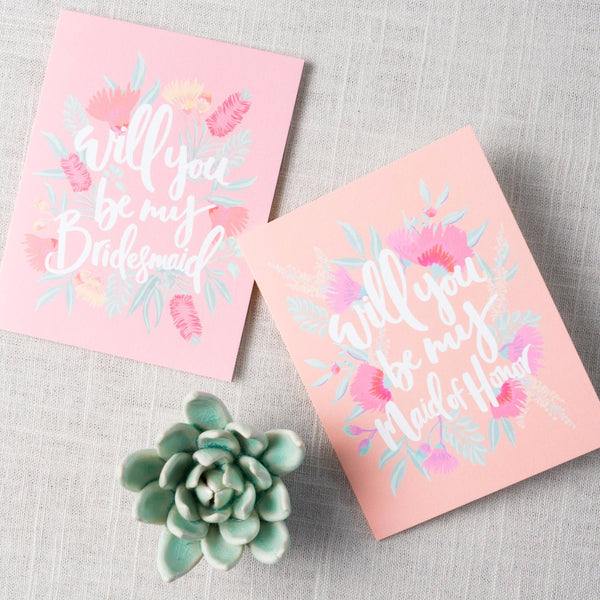 Illustrated Pink Will You Be My... Card