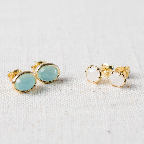 Gemstone Stud Earrings Presh - Cork Collection