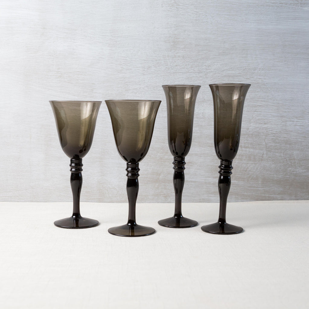 Smoked Gray Glass Stemware