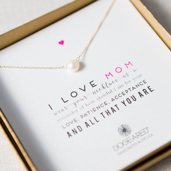 I Love Mom Large Pearl Necklace Dogeared Inc. - Cork Collection