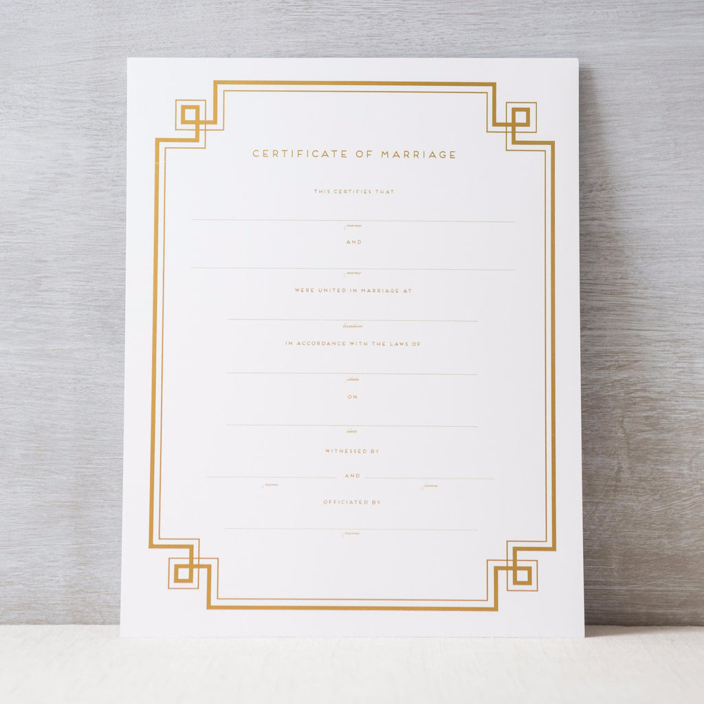 Geometric Marriage Certificate Haute Papier - Cork Collection
