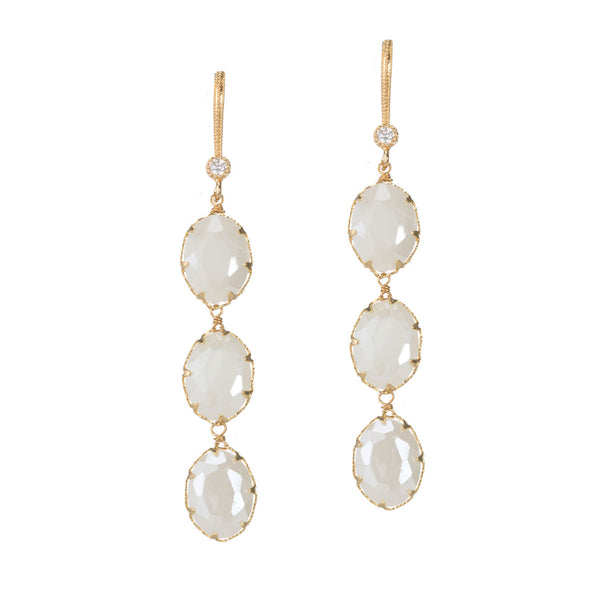 Facet Oval Linear Drop Earrings Theia - Cork Collection