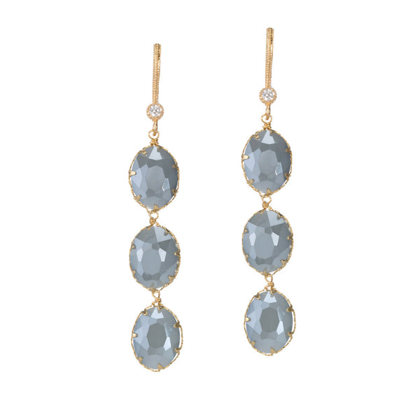 Sky Oval Linear Drop Earrings Theia - Cork Collection