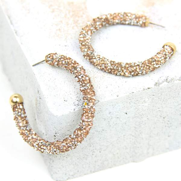 Rose Gold Gloria Glitter Hoop Earrings Violet + Brooks - Cork Collection