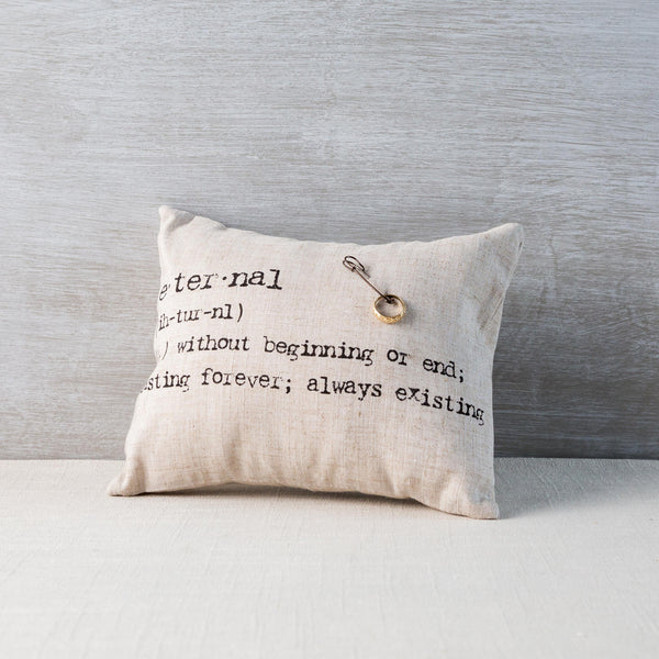 Typewriter Linen Ring Pillow Weddingstar - Cork Collection