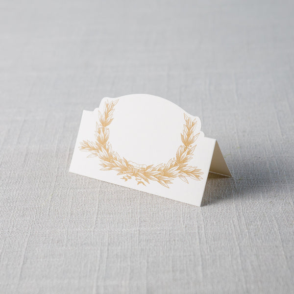 Gold Laurel Wreath Place Cards