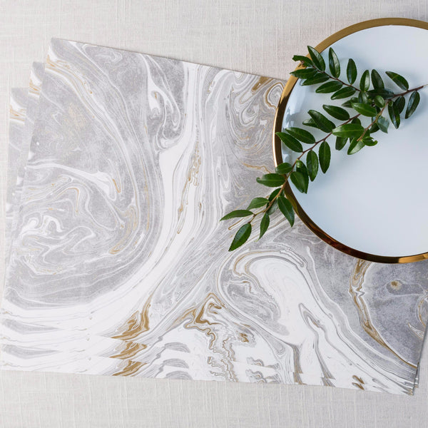 Gray & Gold Marbled Paper Placemat