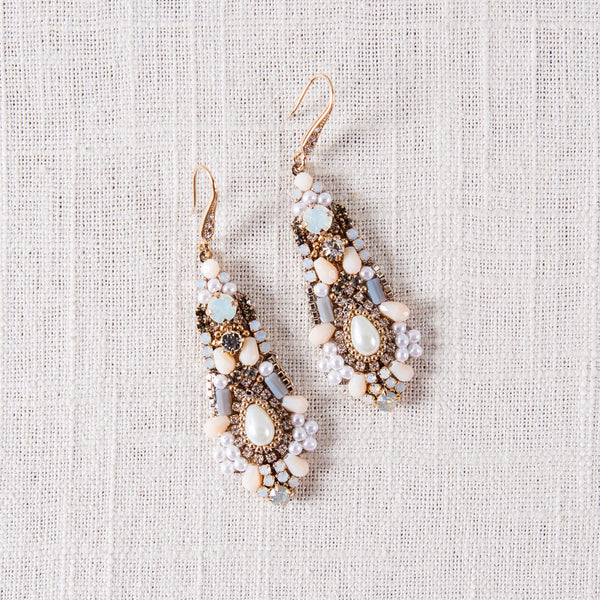 Adele Glam Drop Earrings Theia - Cork Collection