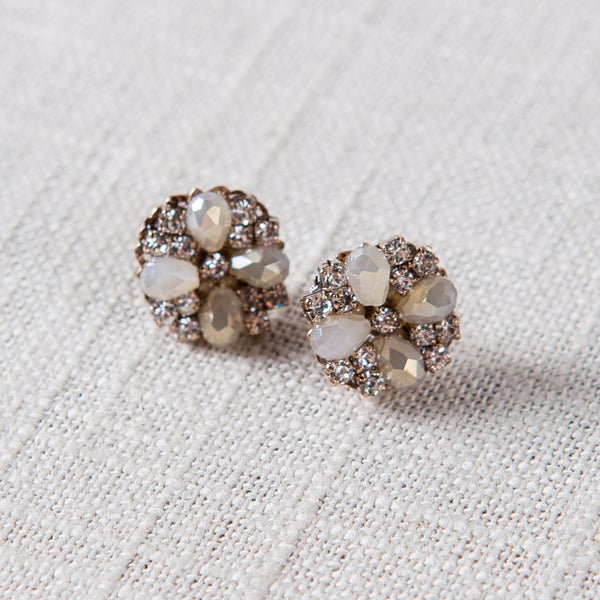 Opal Swarovski Stud Earrings Theia - Cork Collection