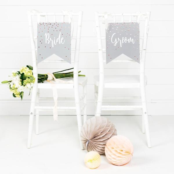 Paper Love Grey Glam Wedding Chairs Signs