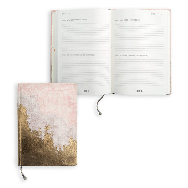 Blush Fade Mini Velvet Gratitude Journal Printfresh - Cork Collection