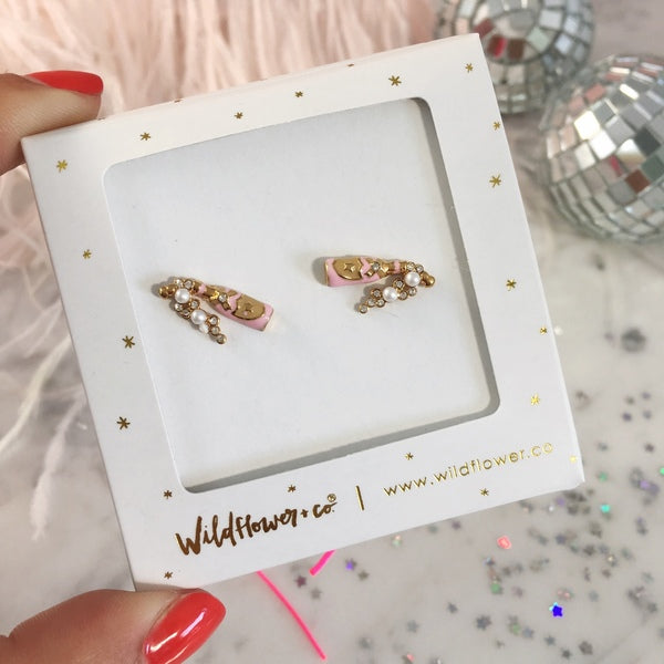 Rose Champagne Stud Earrings Wildflower + Co - Cork Collection