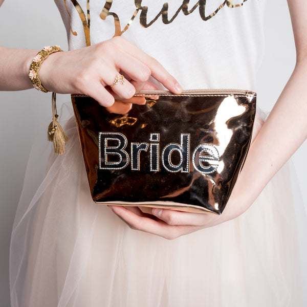 Rose Gold Bride Pouch - Bridal Makeup Bag