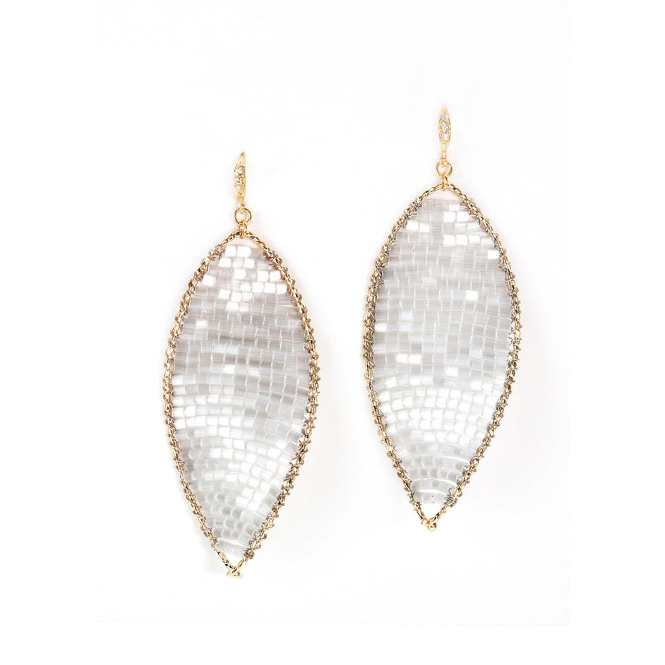 Gold Twisted Oval Crystal Woven Earrings Theia - Cork Collection