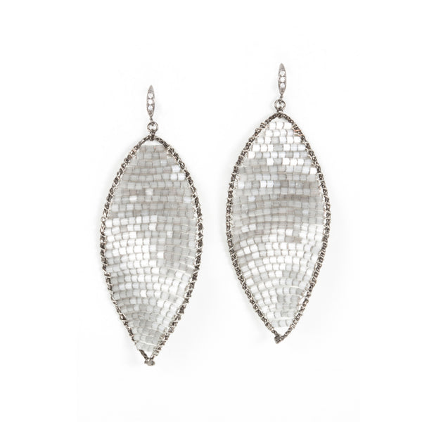 Gray Twisted Oval Crystal Woven Earrings Theia - Cork Collection