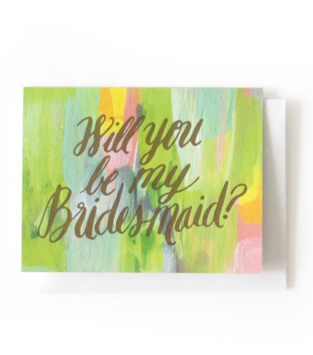 Hand Painted Will You Be My... Card Thimblepress - Cork Collection