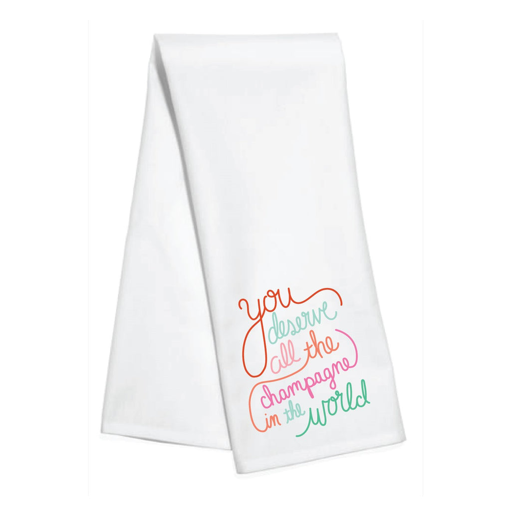 all the champagne kitchen towel - holiday decor