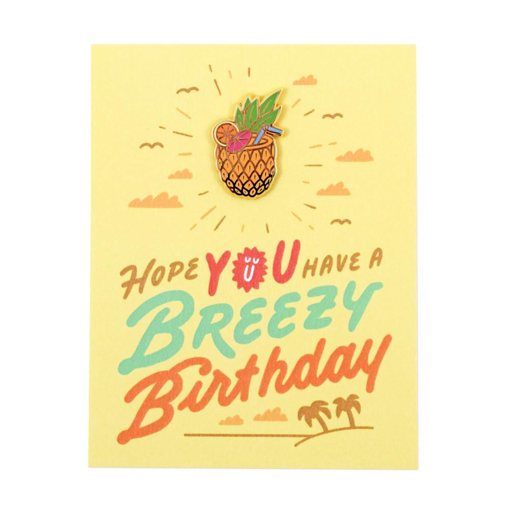 Breezy Birthday Card And Pin