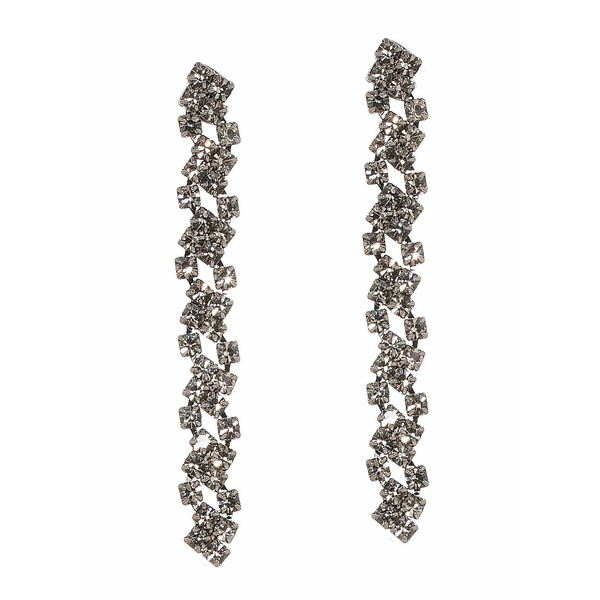 Gun Metal Cascading Linear Drop Earrings Theia - Cork Collection