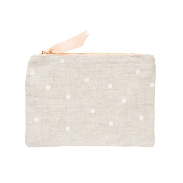 Flax Dot Fabric Pouch