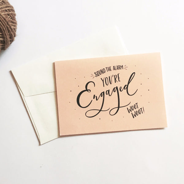 Sound the Alarm You're Engaged Card Frankie's Girl - Cork Collection
