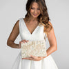 A Beaded Floral Embroidered Bridal Crossbody Clutch Handbag