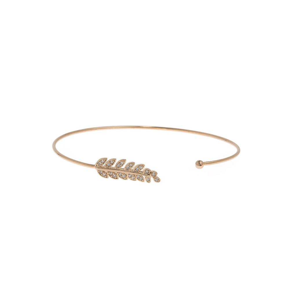 Micro Pave Laurel Leaf Bangle - Antique Gold Theia - Cork Collection