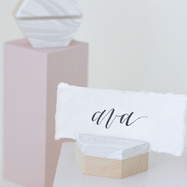 Marbleized Hexagon Place Card Holder Esselle - Cork Collection