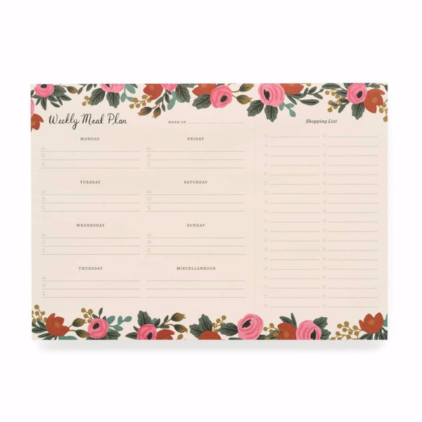 Rosa Meal Planner Notepad Rifle Paper Co. - Cork Collection